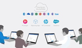 Illustration of four people using laptops. Above them is a cloud with the words Cloud Access Security Broker, a row of Microsoft 365 application logos and the Box logo, and a row with logos for Pluralsight, Reporting App, HP Connected, and Salesforce.