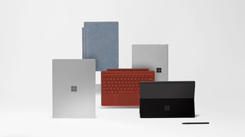 Collection of Surface devices. Surface Pro X, Pro 7 and Laptop 3, in various colours.