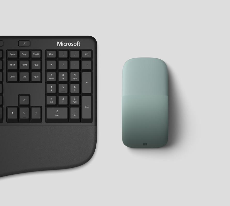 Teclado ergonómico de Microsoft con Microsoft Arc Mouse