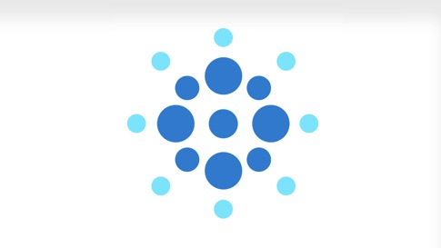 Kreisförmige Illustration aus hell und dunkelblauen Kreisen