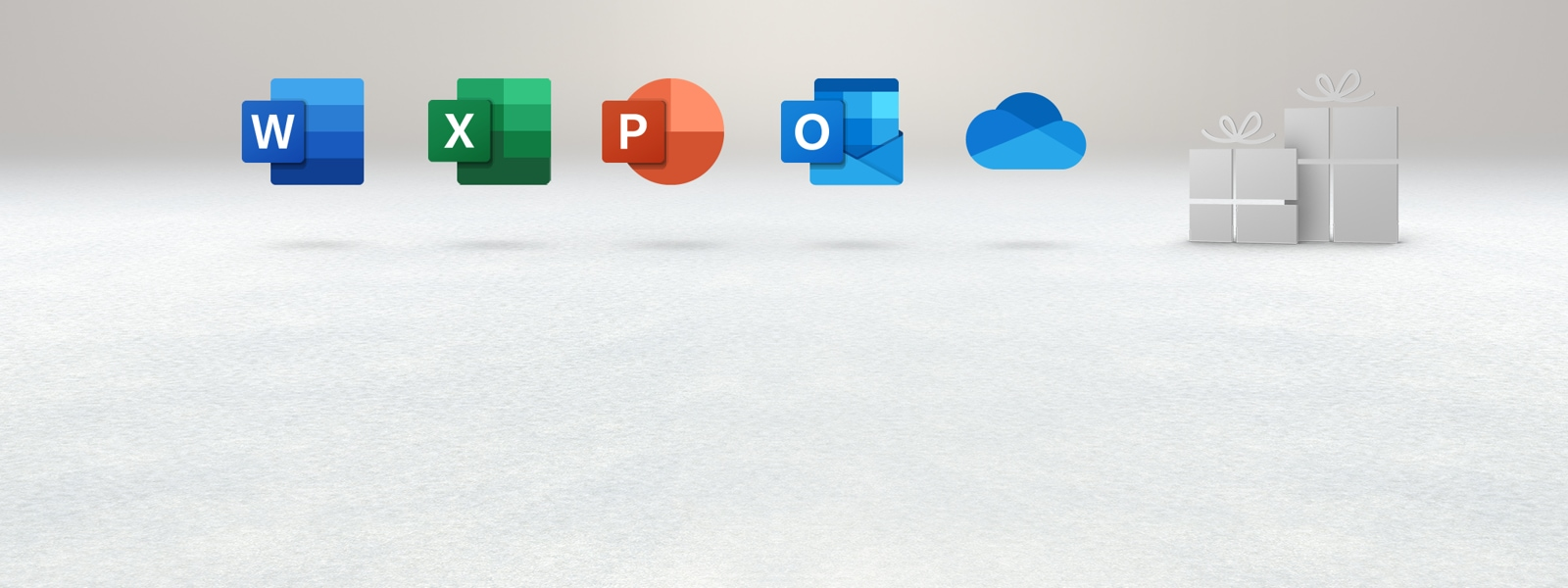 Iconos de las aplicaciones de Microsoft Office sobre un fondo claro