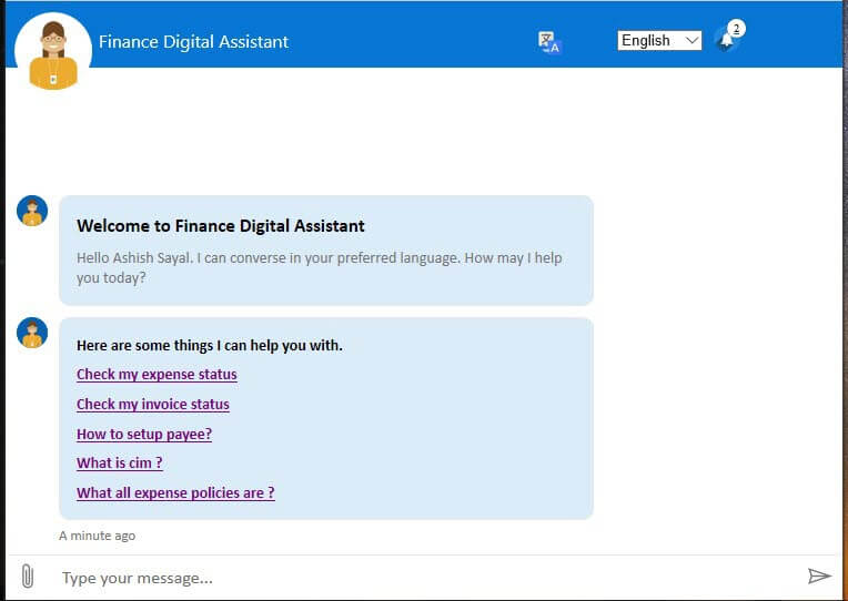 The finance bot is called the finance digital assistant inside Microsoft. The interface appears as a pop-up window which allows the user to chat with the AI driven bot.