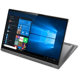 Front right view of Lenovo Yoga C940 in stand mode