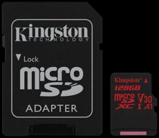 Kingston microSDXC Canvas React 100R/80W U3 UHS-I V30 A1 Card + SD Adapter