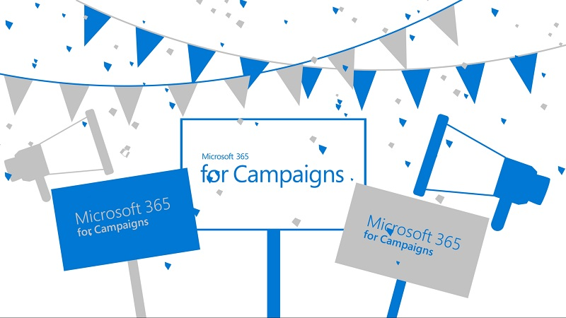 Illustration showing banners, flags, confetti, and various signs that say Microsoft 365 for Campaigns.