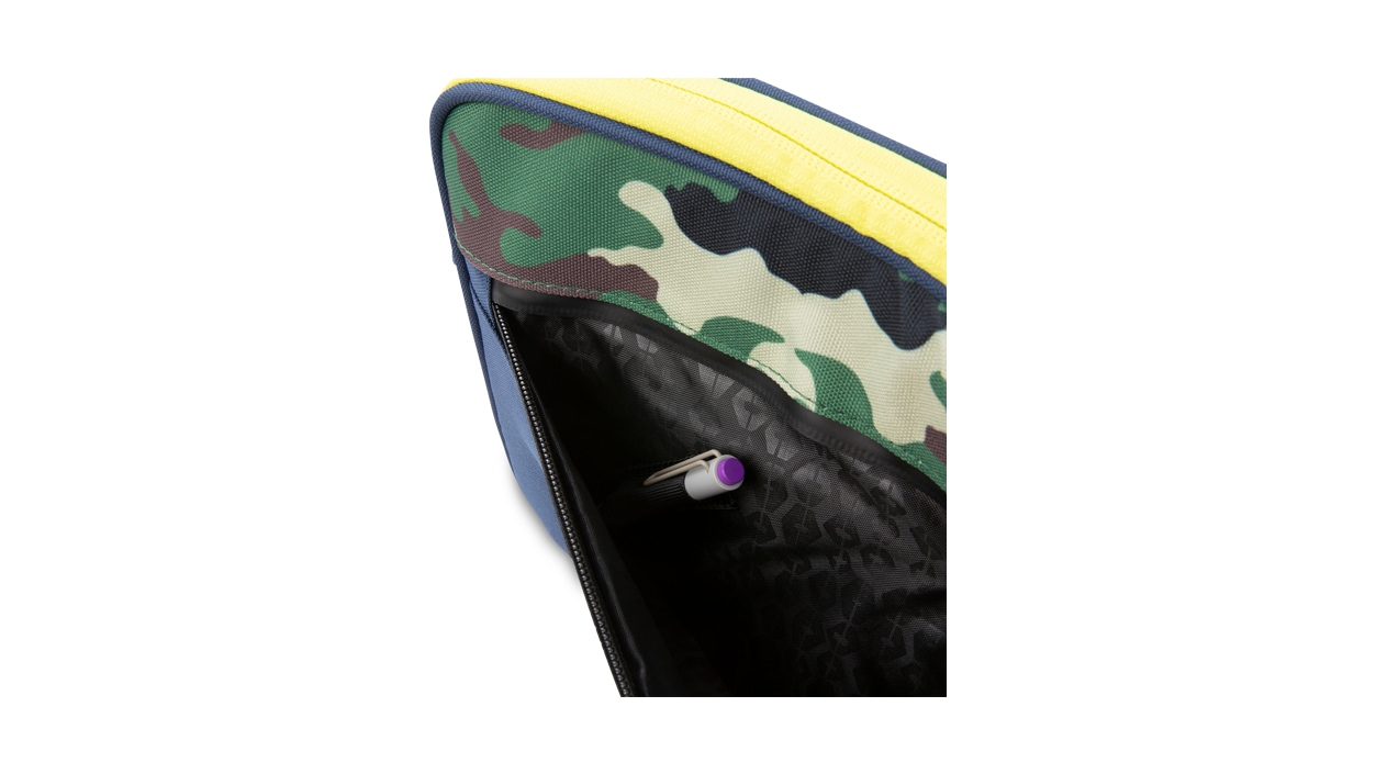 Pocket view of HEX Surface Go Sleeve in Camo/Blue