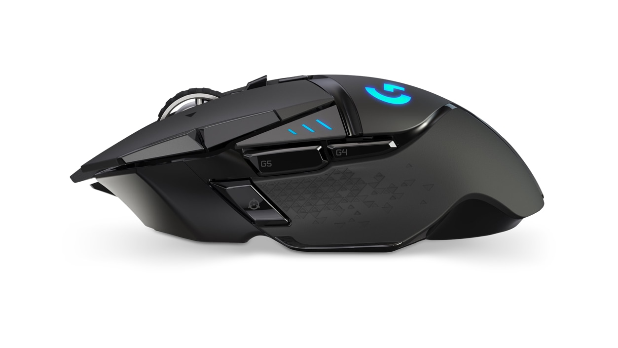 Right side view of Logitech wireless mouse