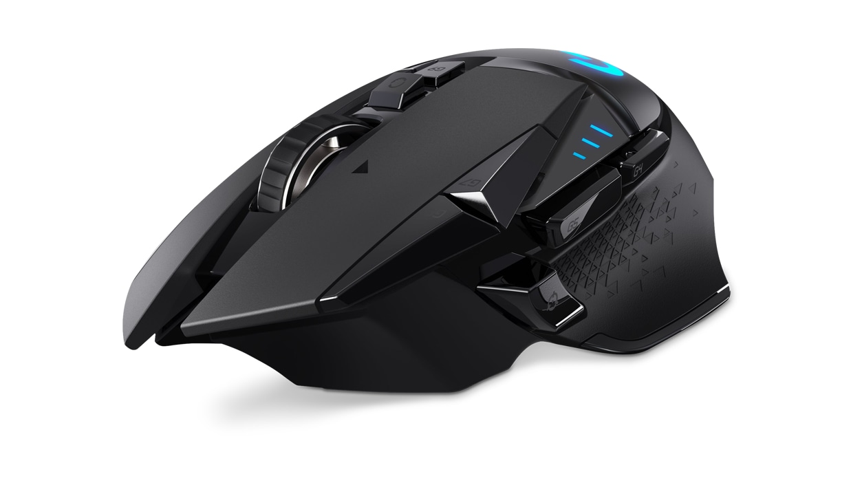 Left angle view of Logitech wireless mouse