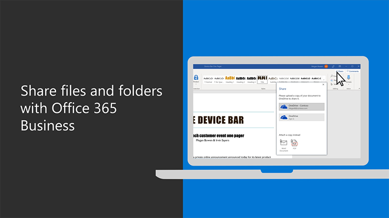 Share files and folders with Office 365