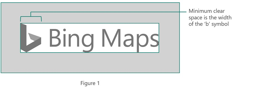 Bing Maps logo showing requirements for clear space