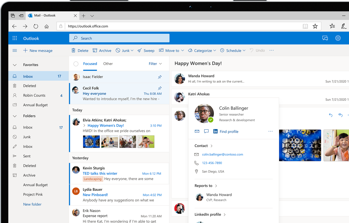 Outlook on the web email inbox displayed on a laptop or tablet