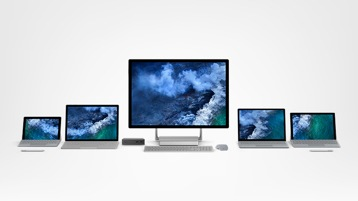 Surface Go, Surface Book 2, Surface Studio 2, Surface Laptop 2, Surface Pro 6, clavier Type Cover, Dock, Arc Mouse, stylet