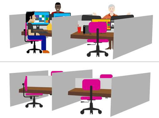 Illustration depicting a full office space and an empty office space.