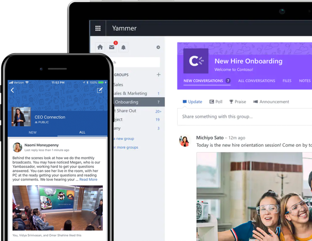 A mobile device and tablet displaying communications and conversations in Yammer