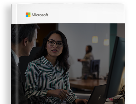 Cover of e-book with Microsoft logo and photograph of people in an office talking