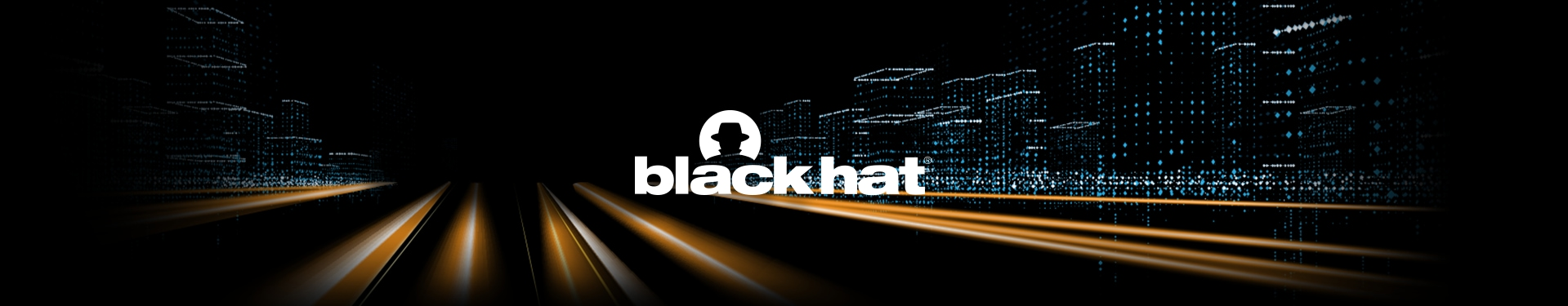 Black Hat USA 2019 event graphics with a conceptual, futuristic city scape at night intersected by beams of light and overlapped by the Black Hat name and logo of a person wearing a hat