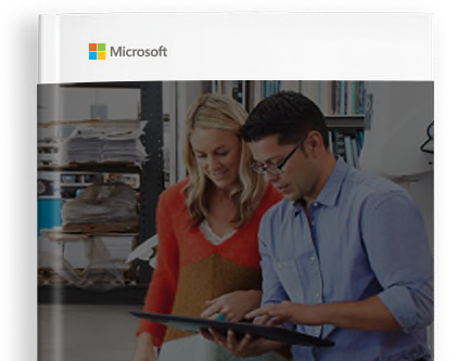 E-book cover with the Microsoft logo and a photograph of two people looking at a tablet