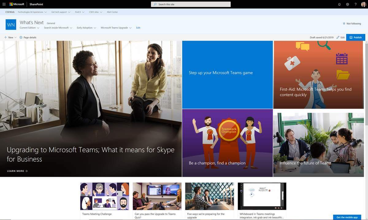 A screen shot of the Microsoft What's Next blog.