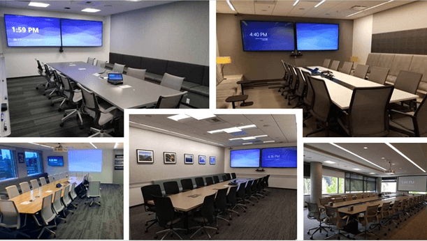 Example of the Microsoft Teams Rooms system with different meeting-room configurations