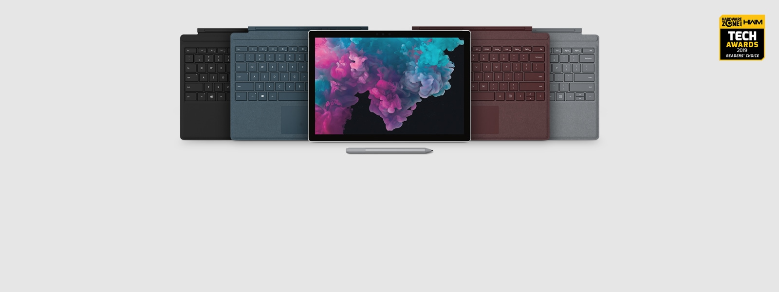 Surface Pro 6 and Surface accessories. HWZ award on display