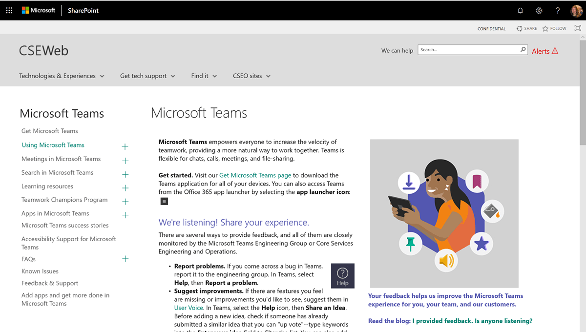 A screen shot of the CSEWeb page for Microsoft Teams.