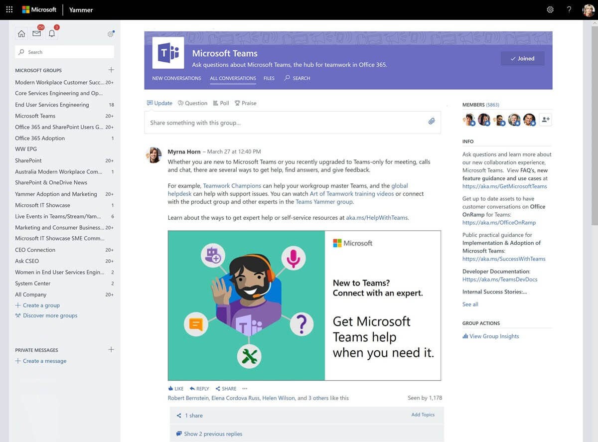A screen shot of the Microsoft Teams Yammer page,  showing an example of Microsoft Teams digital signage.