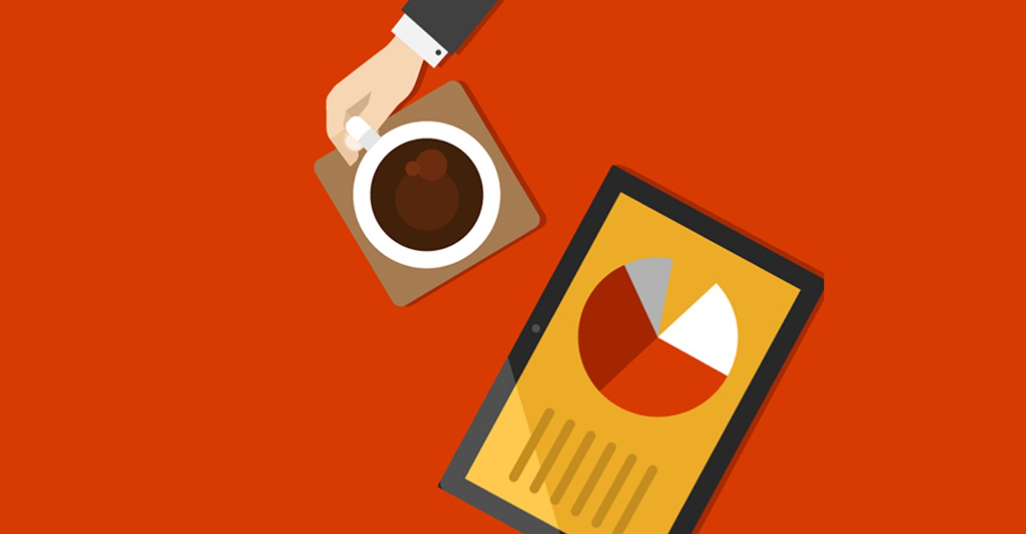 Illustration from an overhead point of view of a hand holding a coffee cup next to a tablet device displaying a page with a bar graph
