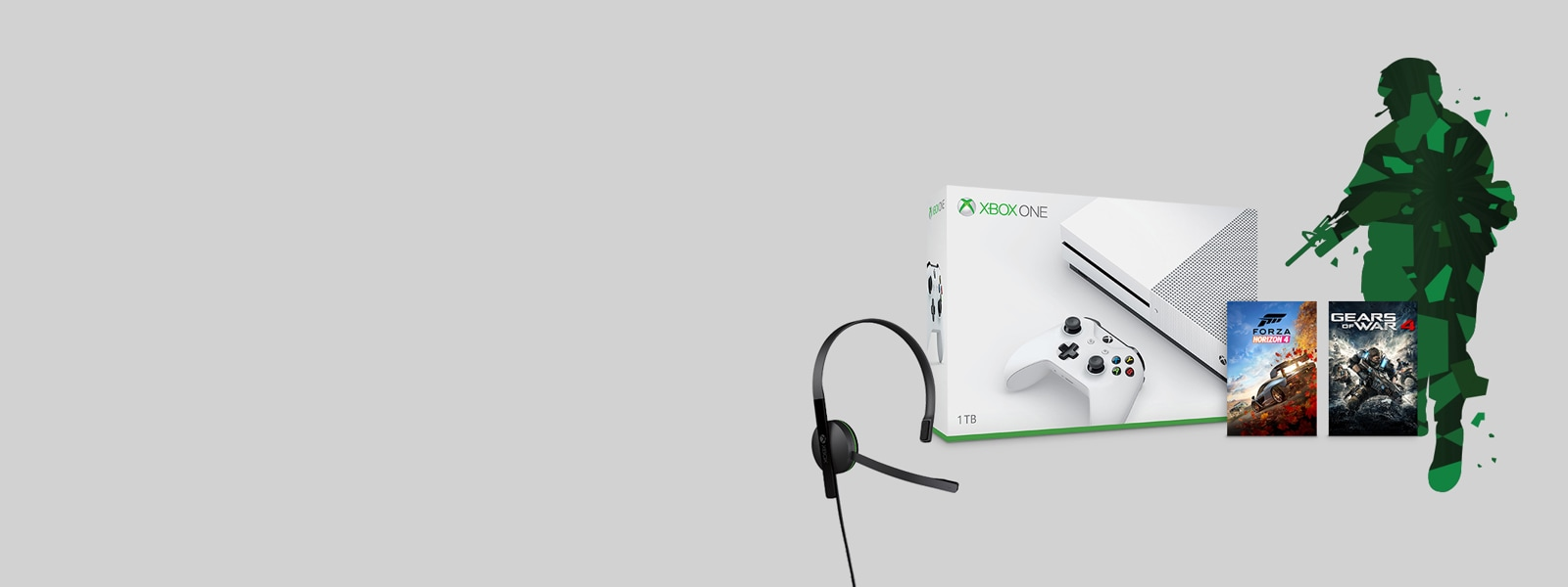 Xbox One S console with Xbox game and Xbox One Chat Headset