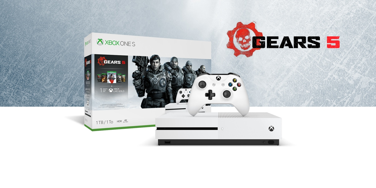Xbox One S Gears 5 bundle with ice texture background