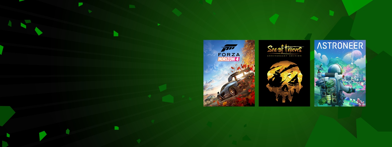Forza Horizon 4, Sea of Thieves Anniversary Edition, and Astroneer games