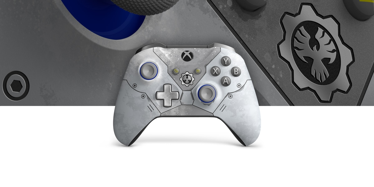 Xbox Wireless Controller Gears 5 Kait Diaz Limited Edition with a close up view of the controller in the background