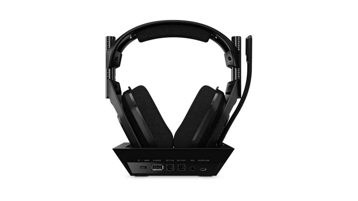 Rear view of Astro Gaming A50 on Base