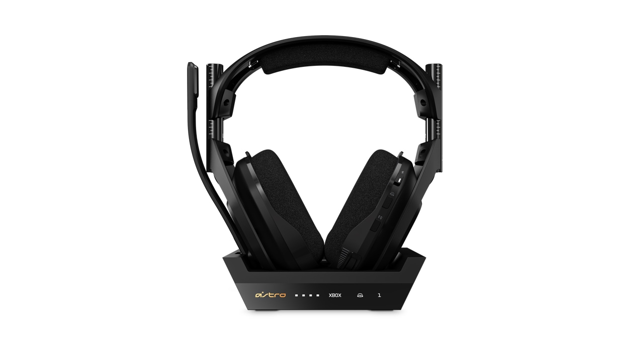 Front view of Astro Gaming A50 on Base