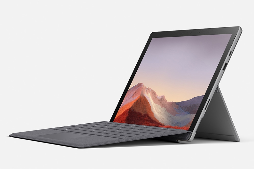 Surface Pro 7 showing screen, keyboard, and kickstand