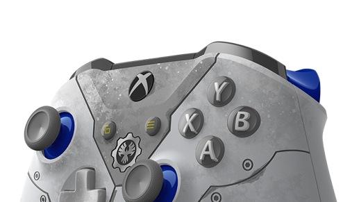 Närbild på knapparna på Xbox trådlös handkontroll Gears 5 Kait Diaz Limited Edition