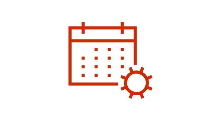 Calendar icon with gear icon