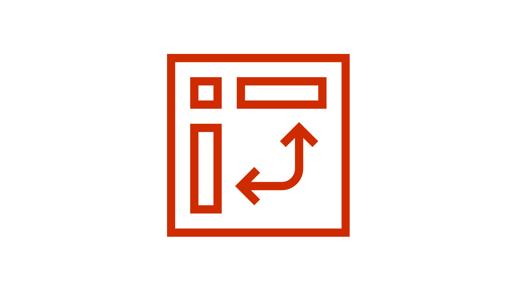 Icono con dos flechas que apuntan a cuadros, todo dentro de un cuadro más grande que representa un diagrama