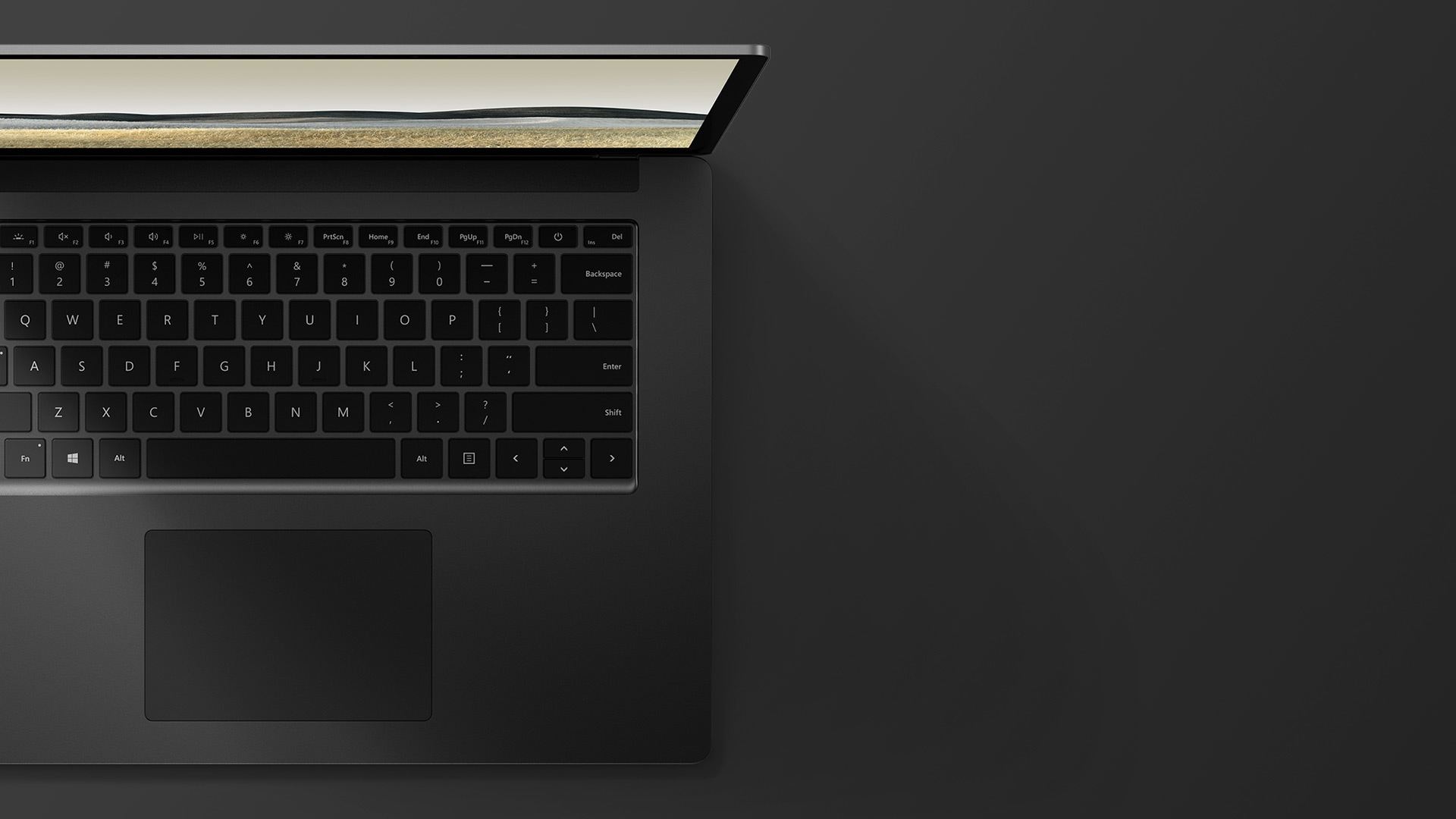 "15"" Surface Laptop 3 in Matte Black top down view"
