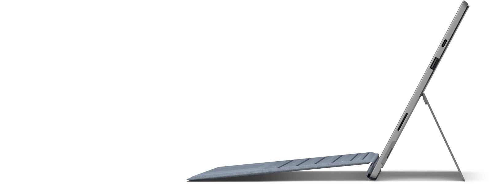 Surface Pro 7 side profile with a Type Cover attached