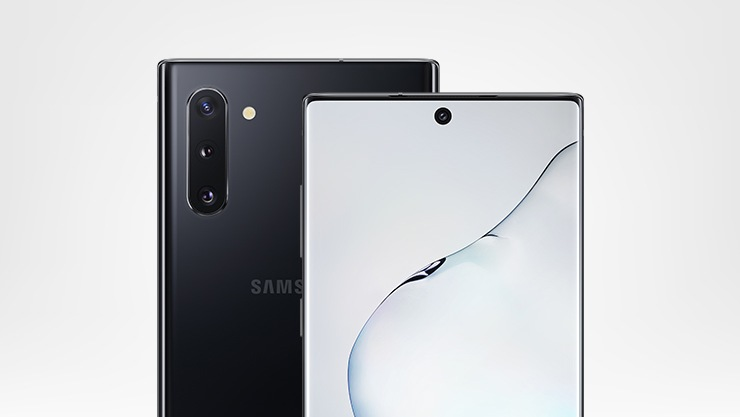 Close-up view of front and back of Samsung Galaxy Note10