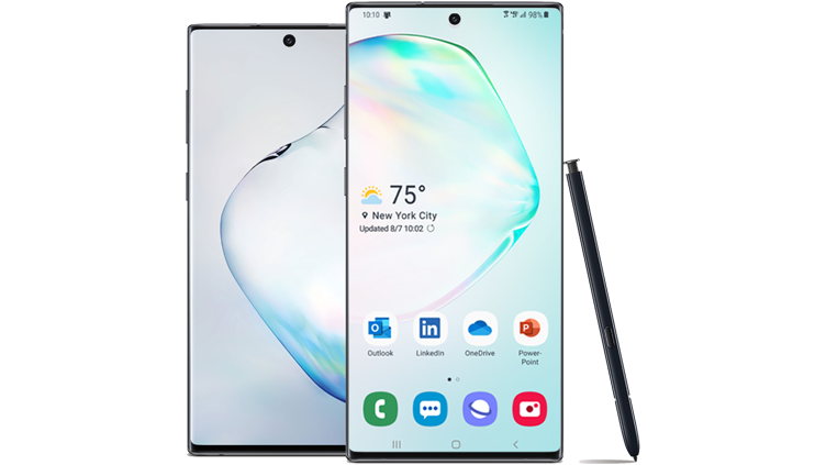 Front and rear view of Samsung Galaxy Note10 with S Pen
