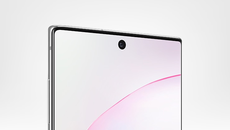 Close-up view of front of Samsung Galaxy Note10