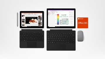 Surface Go + Surface Pro 6 + Office 365 + Surface Pen und Surface Arc Mouse