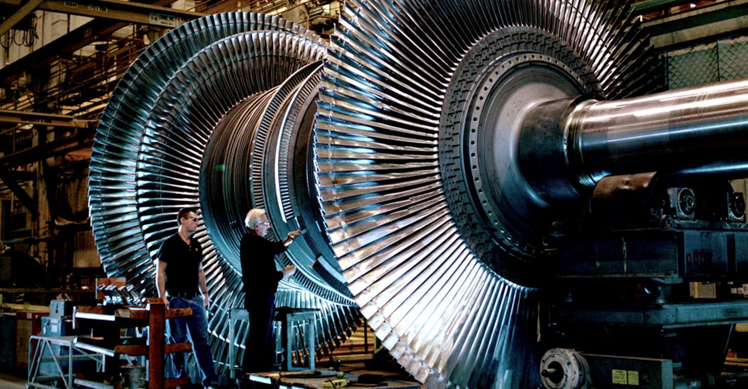 A view of a GE machine factory floor