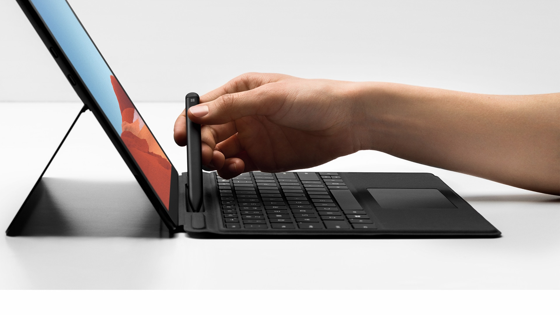 Close-up view of Surface Pro X Signature Keyboard with Slim Pen