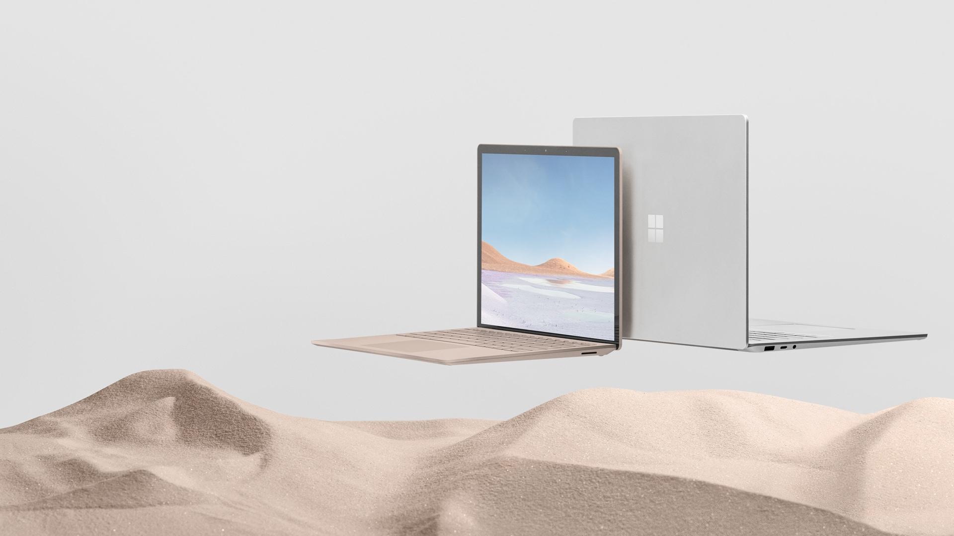 13.5 吋沙岩色和 15 吋白金色的 Surface Laptop 3
