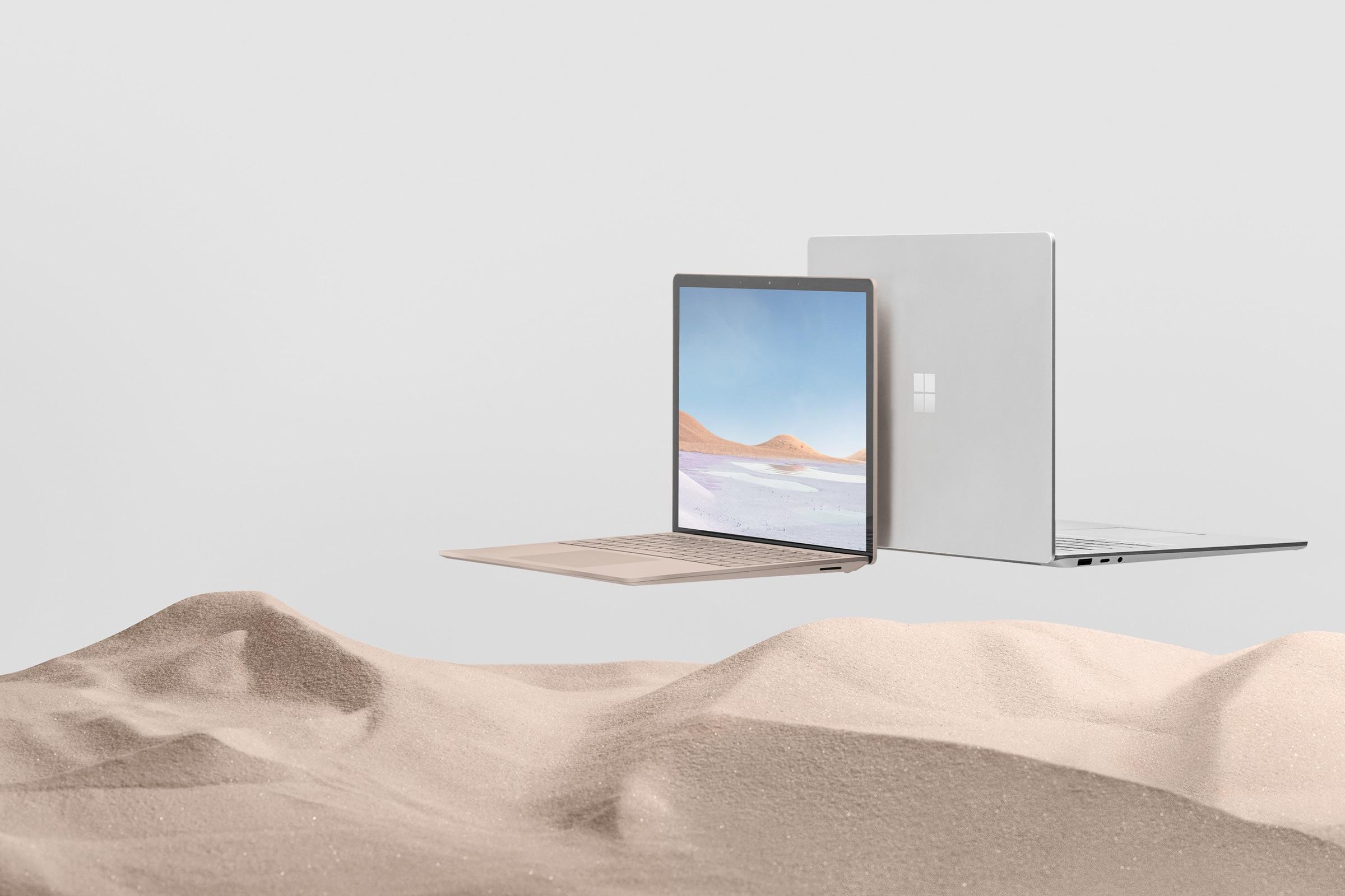 13.5 吋沙巖色和 15 吋白金色的 Surface Laptop 3