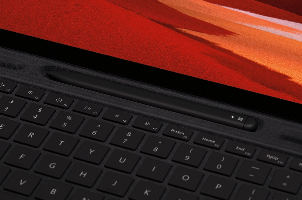 Surface Pro X Signature keyboard and Surface Pro X screen