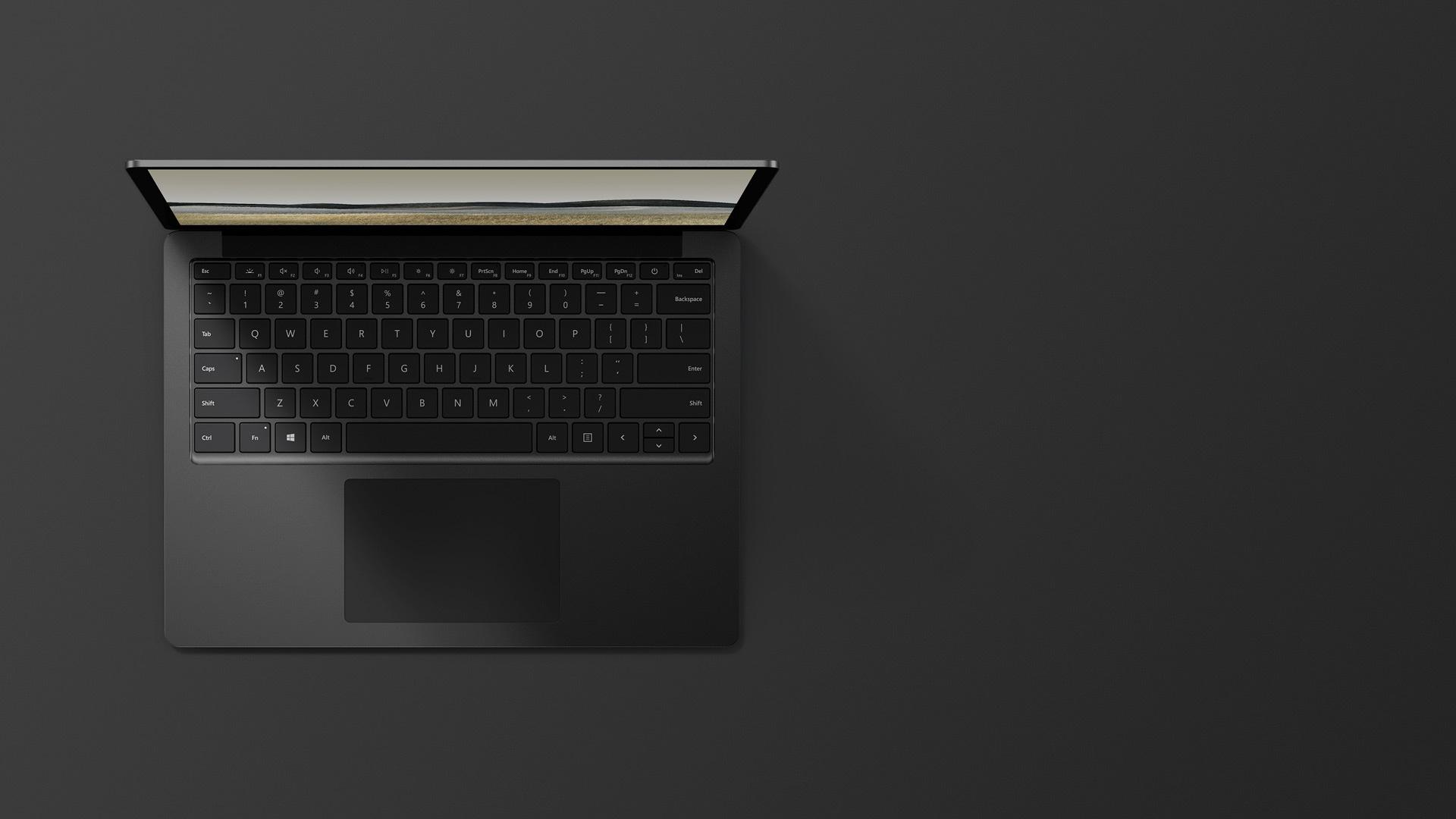 13.5 吋霧黑色 Surface Laptop 3 的俯視圖
