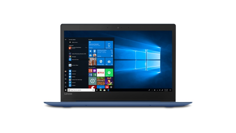 Vue avant du portable Lenovo S130-14 81KU000EUS affichant Windows 10 à l'écran